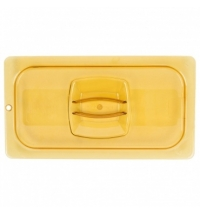 фото: Крышка для поддона для горячих продуктов Rubbermaid GN1/3 янтарная с отверстием для подвешивания, FG221P23AMBR