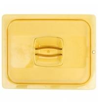 фото: Крышка для поддона для горячих продуктов Rubbermaid GN1/2 янтарная с отверстием для подвешивания, FG228P23AMBR