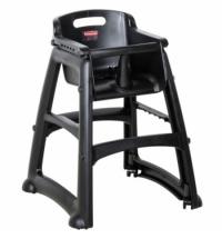 фото: Детский стул для кафе Rubbermaid Sturdy Chair черный пластиковый, с антибактериальной защитой, 1865517