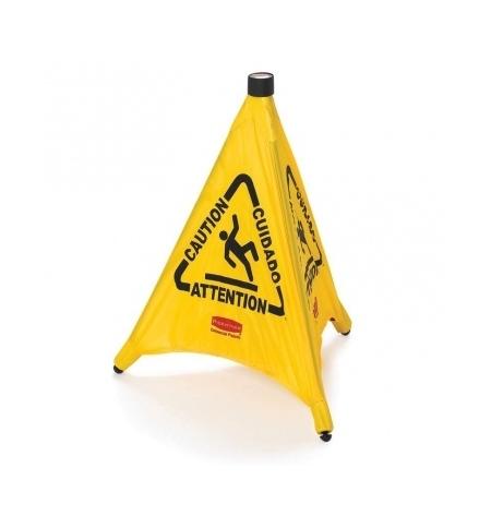 фото: Знак Внимание. Мокрый пол Rubbermaid конусообразный раскладной, на нескольких языках, FG9S0000YEL