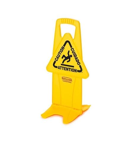 фото: Знак Внимание. Мокрый пол Rubbermaid на подставке на нескольких языках, FG9S0900YEL
