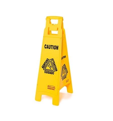 фото: Знак Внимание. Мокрый пол Rubbermaid четырехсторонний раскладной, FG611400YEL