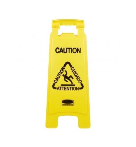 фото: Знак Внимание. Мокрый пол Rubbermaid двухсторонний раскладной, на нескольких языках, FG611200YEL