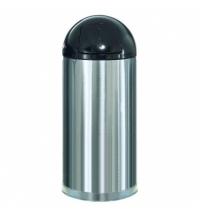Контейнер для мусора Rubbermaid EasyPush 56л металлик, с качающейся крышкой, с внутренним ведром, FGR1536SSSGL