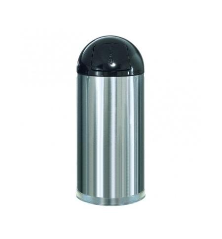 фото: Контейнер для мусора Rubbermaid EasyPush 56л металлик, с качающейся крышкой, с внутренним ведром, FGR1536SSSGL