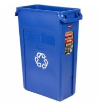 Контейнер для мусора Rubbermaid SlimJim 87л синий, со знаком переработки, с системой вентиляции, FG354007BLUE
