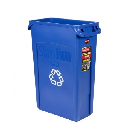 фото: Контейнер для мусора Rubbermaid SlimJim 87л синий, со знаком переработки, с системой вентиляции, FG354007BLUE