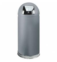 Контейнер для мусора Rubbermaid EasyPush 56л металлик, с качающейся крышкой, с внутренним ведром, FGR1536SMGL