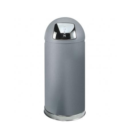 фото: Контейнер для мусора Rubbermaid EasyPush 56л металлик, с качающейся крышкой, с внутренним ведром, FGR1536SMGL