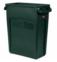 Контейнер для мусора Rubbermaid SlimJim 60л зеленый, с системой вентиляции, 1955960