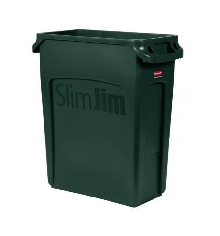 фото: Контейнер для мусора Rubbermaid SlimJim 60л зеленый, с системой вентиляции, 1955960