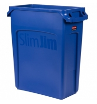 Контейнер для мусора Rubbermaid SlimJim 60л синий, с системой вентиляции, 1971257