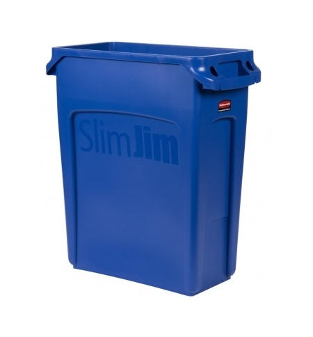 фото: Контейнер для мусора Rubbermaid SlimJim 60л синий, с системой вентиляции, 1971257