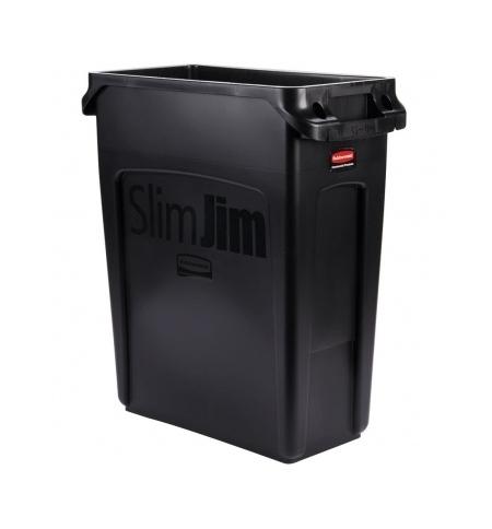 фото: Контейнер для мусора Rubbermaid SlimJim 60л черный, с системой вентиляции, 1955959
