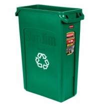 Контейнер для мусора Rubbermaid SlimJim 87л зеленый, со знаком переработки, с системой вентиляции, FG354007GRN