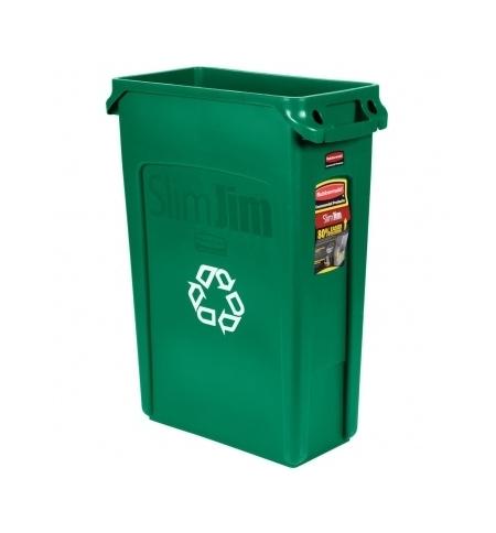 фото: Контейнер для мусора Rubbermaid SlimJim 87л зеленый, со знаком переработки, с системой вентиляции, FG354007GRN