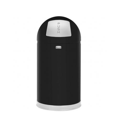 фото: Контейнер для мусора Rubbermaid EasyPush 45л черный, с качающейся крышкой, с внутренним ведром, FGR1530EGLBK