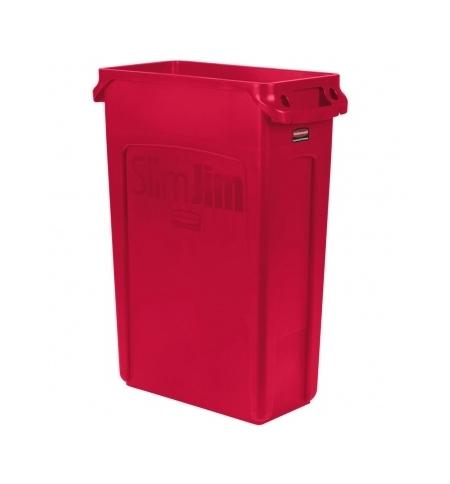 фото: Контейнер для мусора Rubbermaid SlimJim 87л красный, с системой вентиляции, 1956189