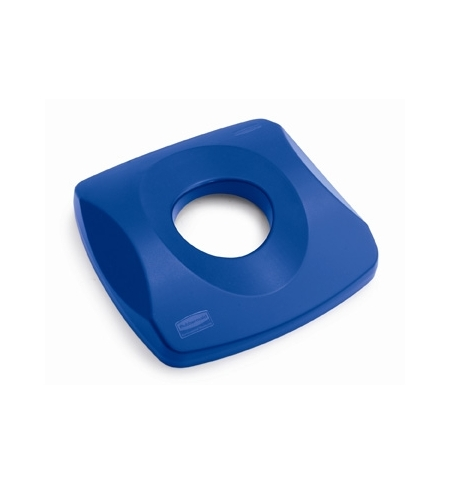 фото: Крышка для контейнера Rubbermaid Untouchable 87л с отверстием для бутылок, синяя, FG269100BLUE