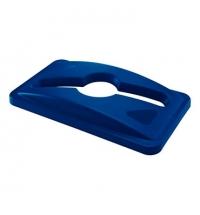 фото: Крышка для контейнера Rubbermaid SlimJim 87л/60л с отверстием для смешанных отходов, синяя, 1788372