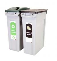 Комплект для раздельной утилизации Rubbermaid SlimJim 2х87л, для раздельного сбора мусора, 1876489