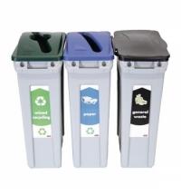 Комплект для раздельной утилизации Rubbermaid SlimJim 3х87л, для раздельного сбора мусора, 1876490