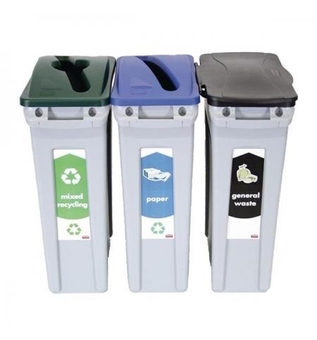 фото: Комплект для раздельной утилизации Rubbermaid SlimJim 3х87л, для раздельного сбора мусора, 1876490