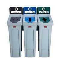 Комплект для раздельной утилизации Rubbermaid Slim Jim Landfill / Paper / Mixed Recycling, 3х87л, 20