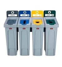Комплект для раздельной утилизации Rubbermaid Slim Jim Landfill / Paper / Plastic / Glass, 4х87л, 20