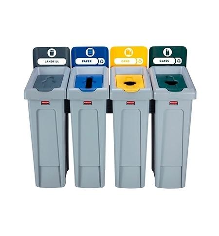 фото: Комплект для раздельной утилизации Rubbermaid Slim Jim Landfill / Paper / Plastic / Glass, 4х87л, 20