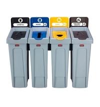 Комплект для раздельной утилизации Rubbermaid Slim Jim Landfill / Paper / Plastic / Organic, 4х87л,