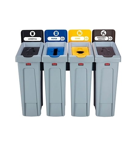 фото: Комплект для раздельной утилизации Rubbermaid Slim Jim Landfill / Paper / Plastic / Organic, 4х87л,