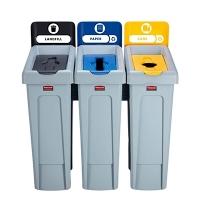 Комплект для раздельной утилизации Rubbermaid Slim Jim Landfill / Paper / Plastic, 3х87л, 2057607