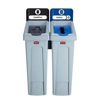 фото: Комплект для раздельной утилизации Rubbermaid Slim Jim Landfill / Paper, 2х87л, 2057605
