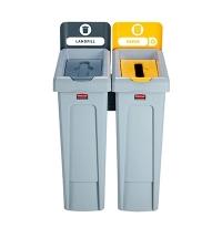 Комплект для раздельной утилизации Rubbermaid Slim Jim Landfill / Paper, 2х87л, 2057733