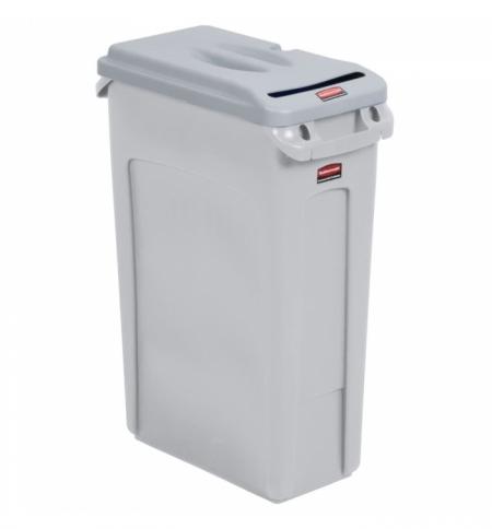 фото: Контейнер для мусора Rubbermaid SlimJim 87л, серый, для конфиденциальных документов, FG9W1600LGRAY