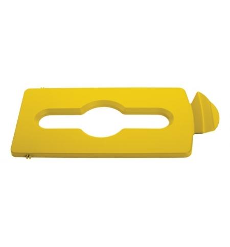 фото: Крышка для мусорного контейнера Rubbermaid Slim Jim смешанные отходы, желтая, 2007883